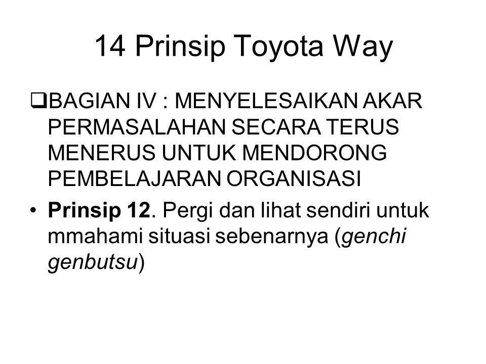 14 Prinsip Toyota Way BAGIAN IV : MENYELESAIKAN AKAR PERMASALAHAN SECARA TERUS MENERUS UNTUK MENDORONG PEMBELAJARAN ORGANISASI.