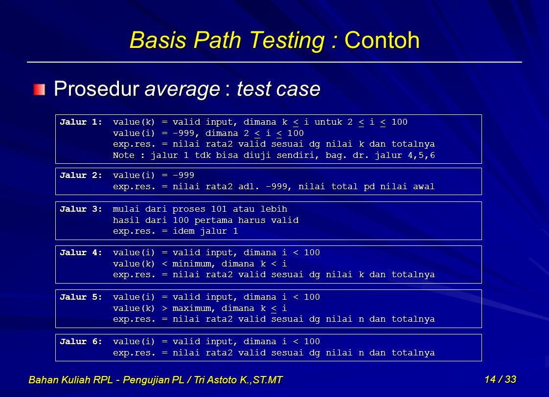 Basis Path Testing : Contoh