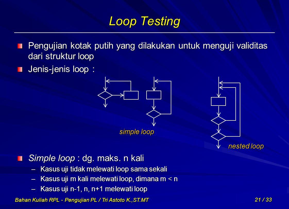 Loop Testing Pengujian kotak putih yang dilakukan untuk menguji validitas dari struktur loop. Jenis-jenis loop :
