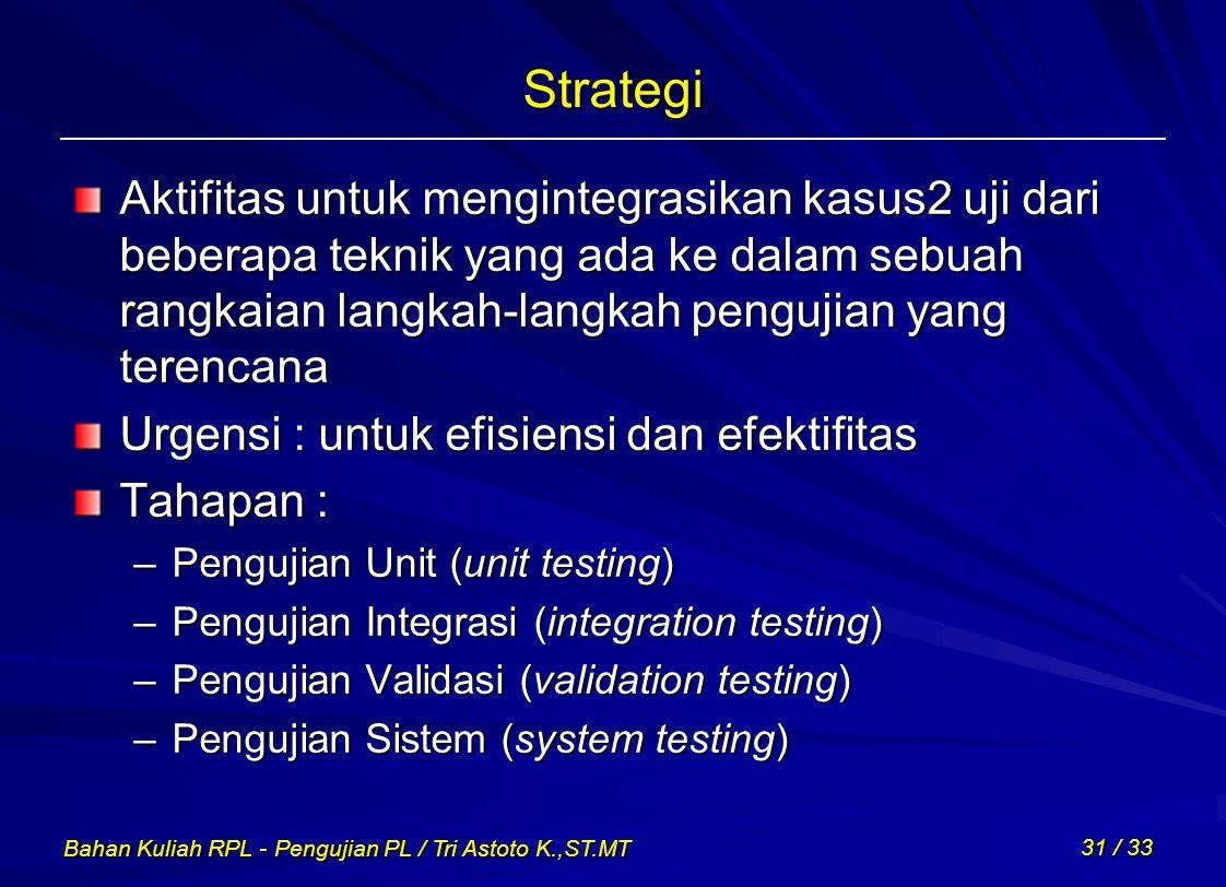 Strategi Aktifitas untuk mengintegrasikan kasus2 uji dari beberapa teknik yang ada ke dalam sebuah rangkaian langkah-langkah pengujian yang terencana.