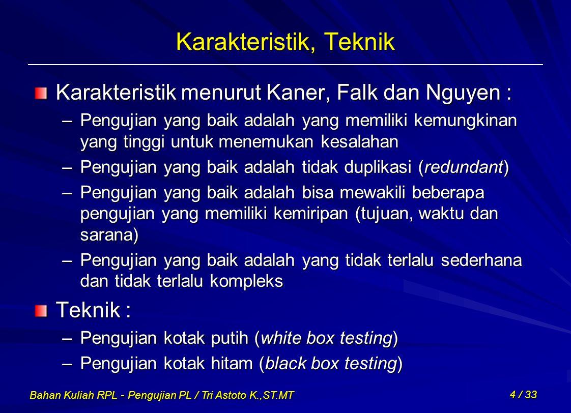 Karakteristik, Teknik Karakteristik menurut Kaner, Falk dan Nguyen :