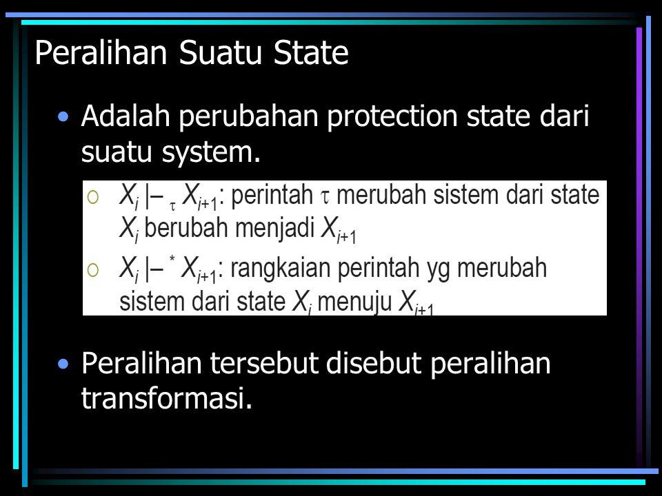 Peralihan Suatu State Adalah perubahan protection state dari suatu system.