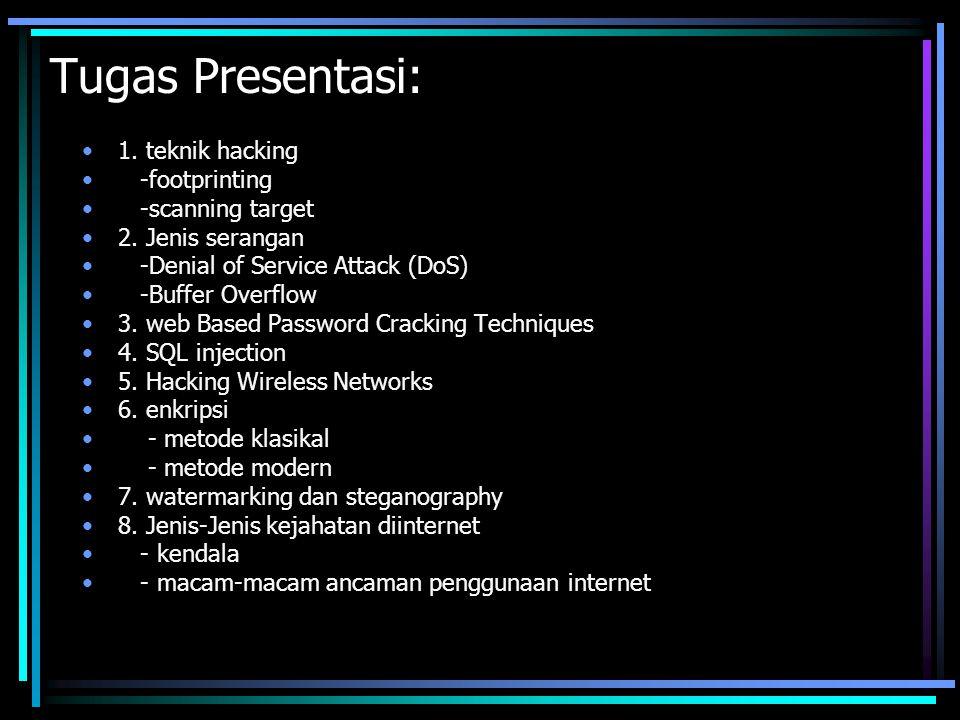 Tugas Presentasi: 1. teknik hacking -footprinting -scanning target