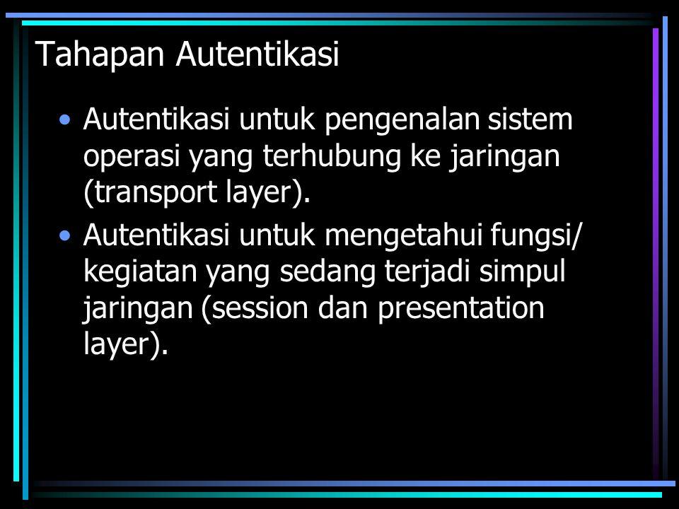 Tahapan Autentikasi Autentikasi untuk pengenalan sistem operasi yang terhubung ke jaringan (transport layer).