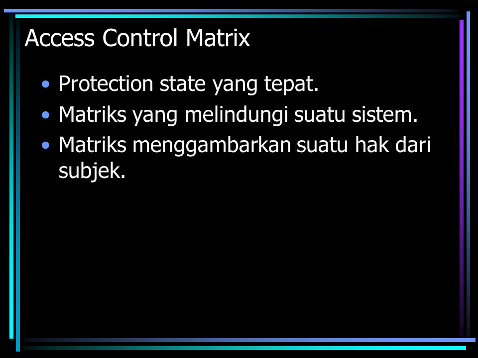 Access Control Matrix Protection state yang tepat.
