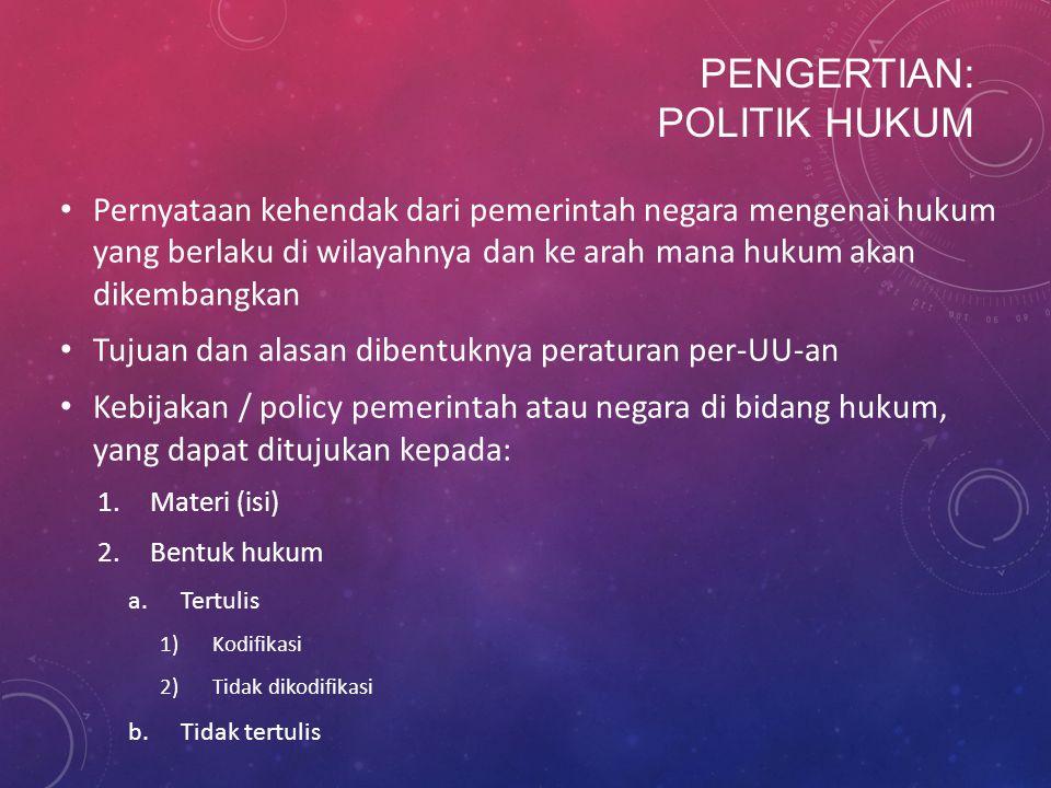 Pengertian: Politik Hukum