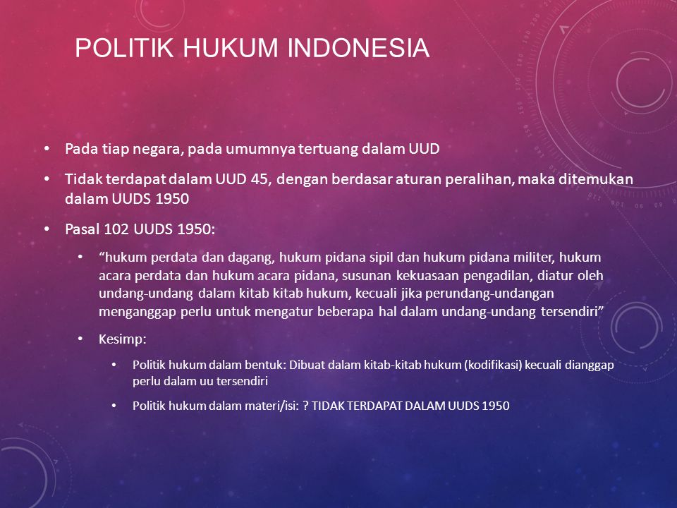 POLITIK HUKUM INDONESIA
