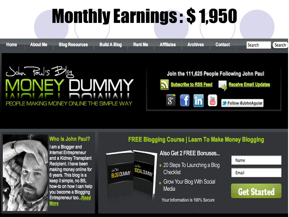 Monthly Earnings : $ 1,950