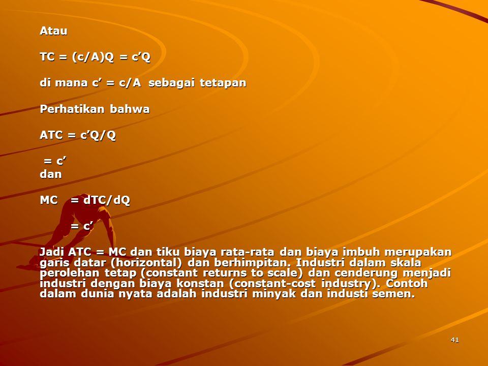 di mana c' = c/A sebagai tetapan Perhatikan bahwa ATC = c'Q/Q = c' dan