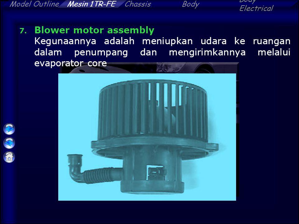 Blower motor assembly Kegunaannya adalah meniupkan udara ke ruangan dalam penumpang dan mengirimkannya melalui evaporator core.
