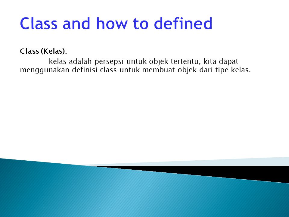 Class and how to defined