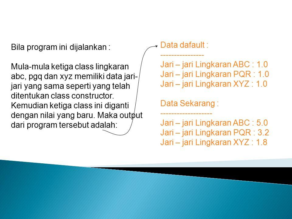 Data dafault : ---------------- Jari – jari Lingkaran ABC : 1.0. Jari – jari Lingkaran PQR : 1.0.