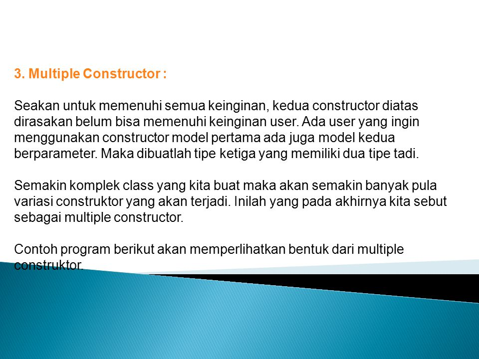 3. Multiple Constructor :