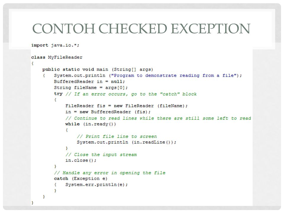 Contoh Checked Exception