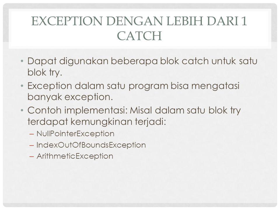 Exception dengan lebih dari 1 catch