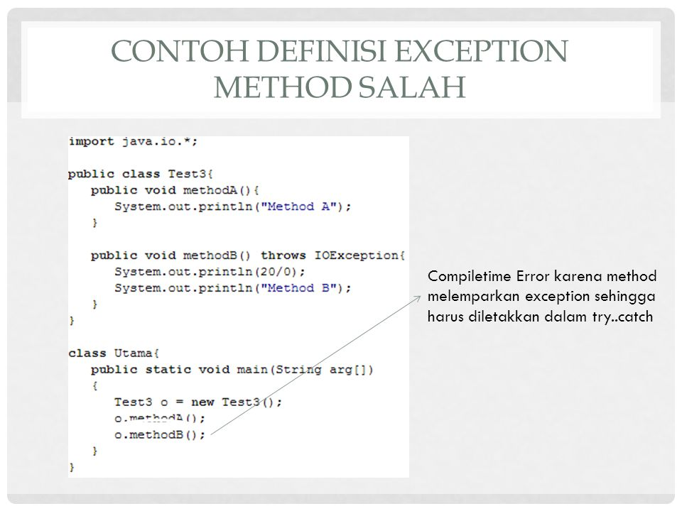 Contoh definisi exception method salah