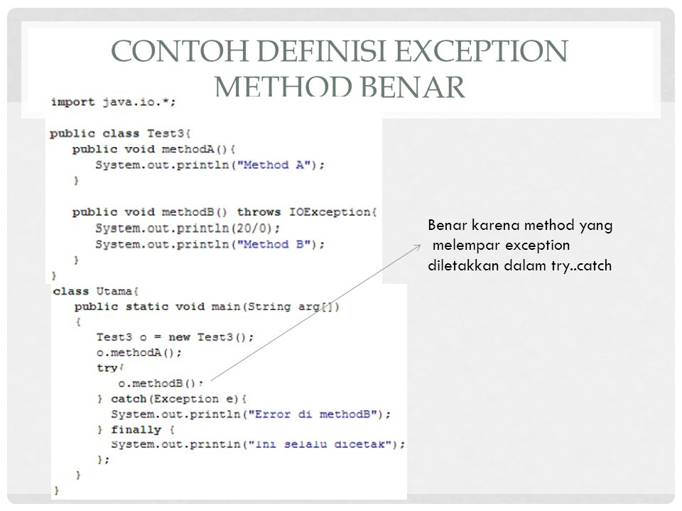 Contoh definisi exception method benar