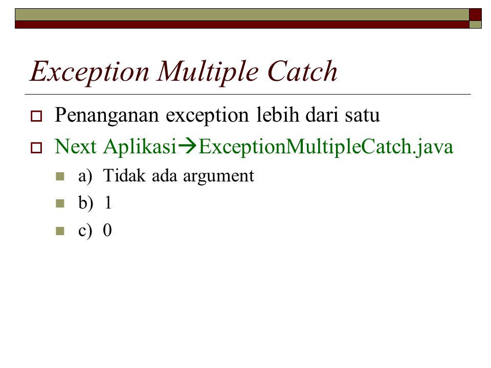 Exception Multiple Catch