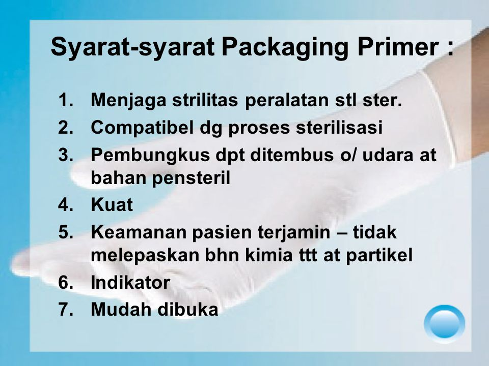 Syarat-syarat Packaging Primer :