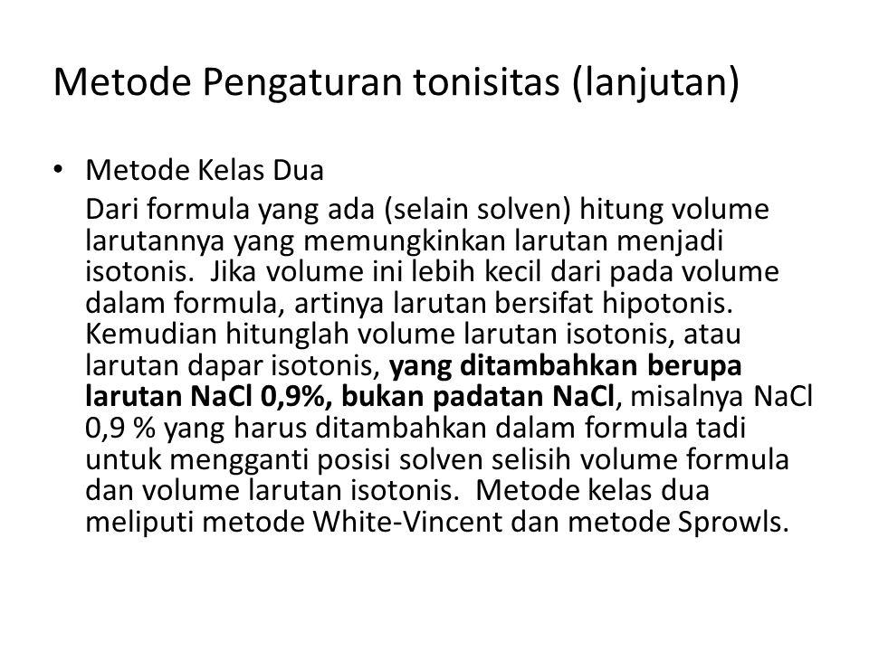 Metode Pengaturan tonisitas (lanjutan)