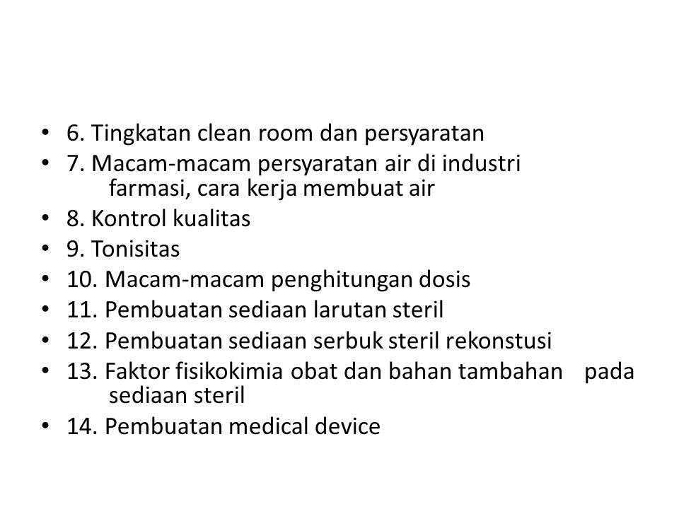 6. Tingkatan clean room dan persyaratan