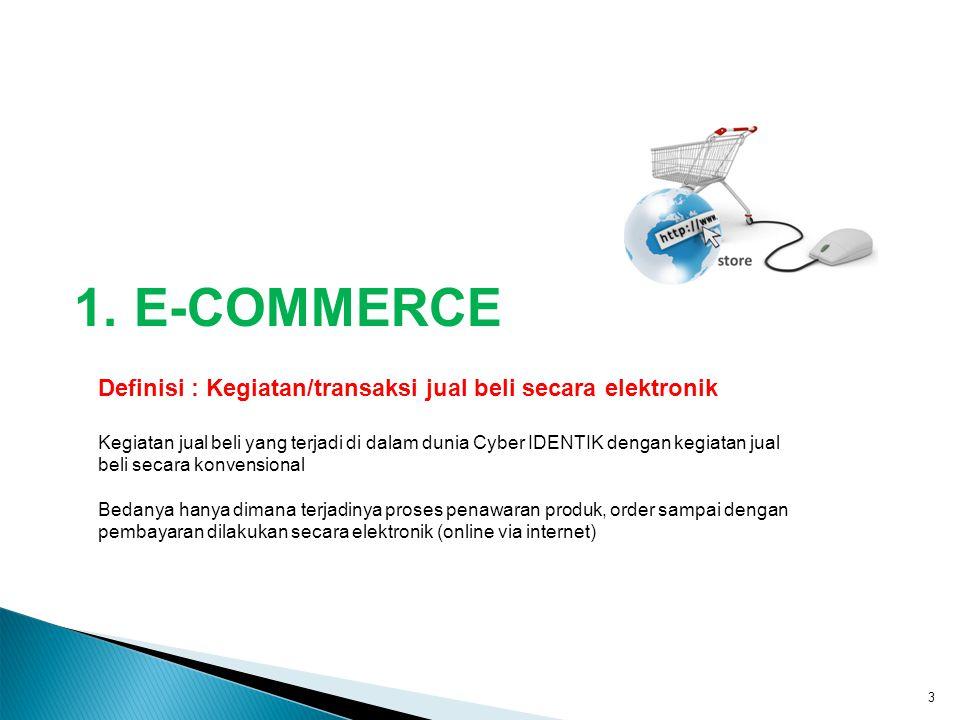 1. E-COMMERCE Definisi : Kegiatan/transaksi jual beli secara elektronik.