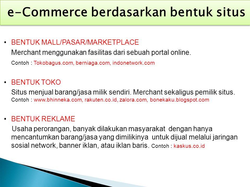 e-Commerce berdasarkan bentuk situs