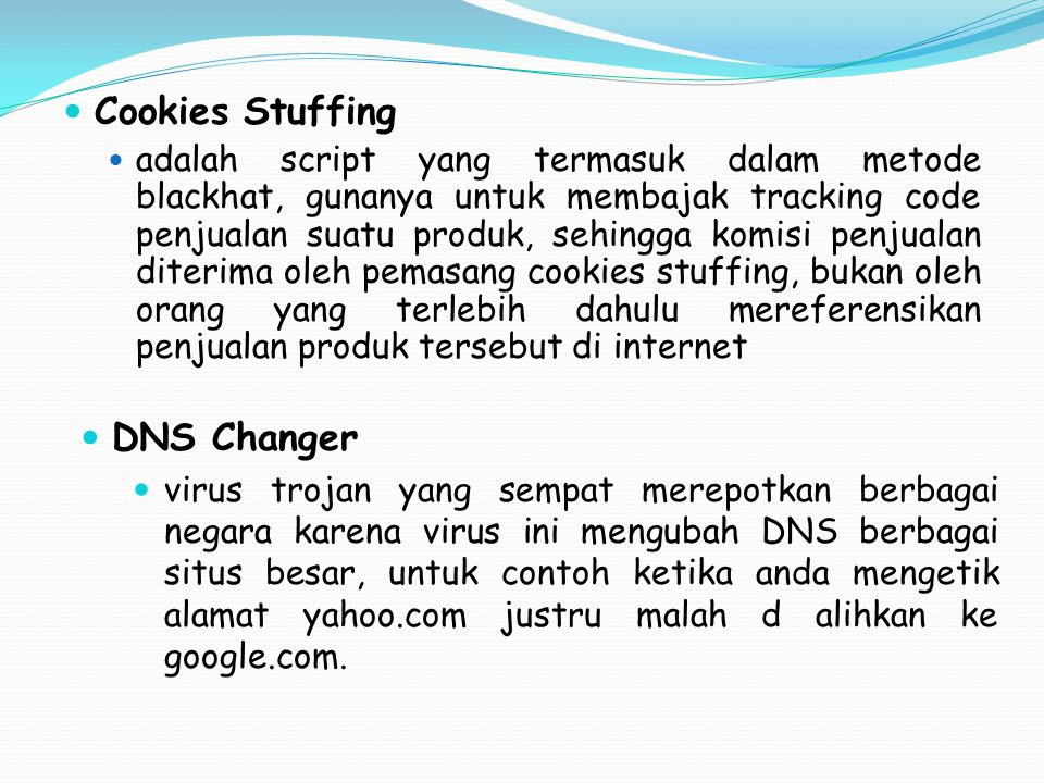 Cookies Stuffing DNS Changer