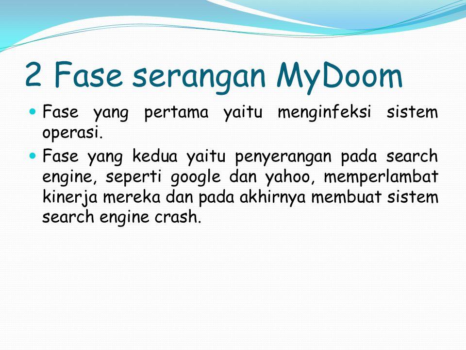 2 Fase serangan MyDoom Fase yang pertama yaitu menginfeksi sistem operasi.