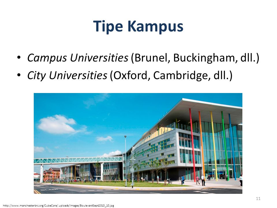 Tipe Kampus Campus Universities (Brunel, Buckingham, dll.)
