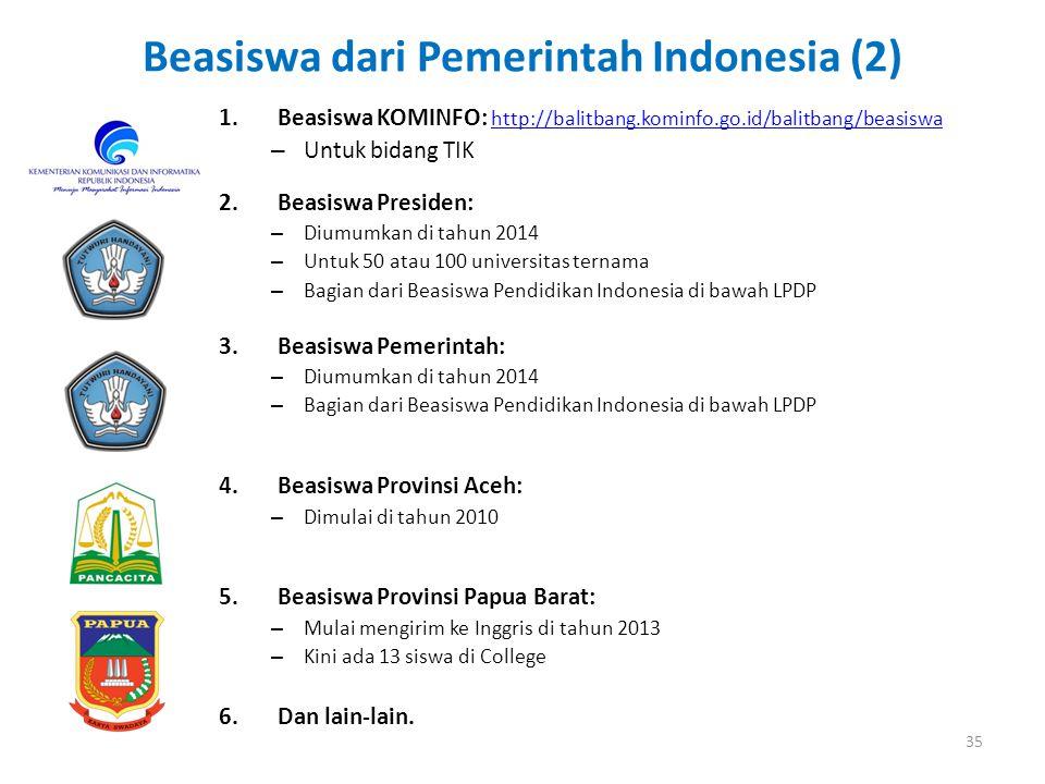 Beasiswa dari Pemerintah Indonesia (2)