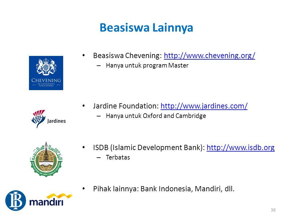 Beasiswa Lainnya Beasiswa Chevening: http://www.chevening.org/
