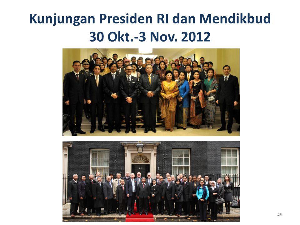 Kunjungan Presiden RI dan Mendikbud 30 Okt.-3 Nov. 2012