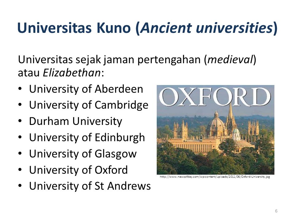 Universitas Kuno (Ancient universities)