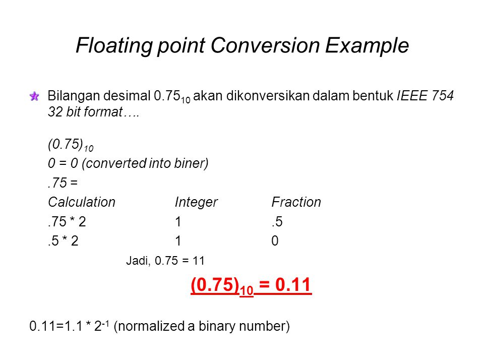 Floating point Conversion Example