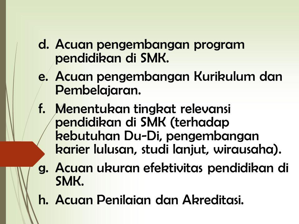 Acuan pengembangan program pendidikan di SMK.