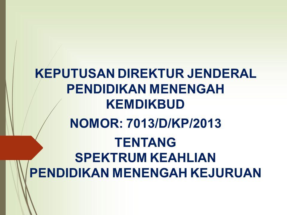 KEPUTUSAN DIREKTUR JENDERAL PENDIDIKAN MENENGAH KEMDIKBUD NOMOR: 7013/D/KP/2013 TENTANG SPEKTRUM KEAHLIAN PENDIDIKAN MENENGAH KEJURUAN