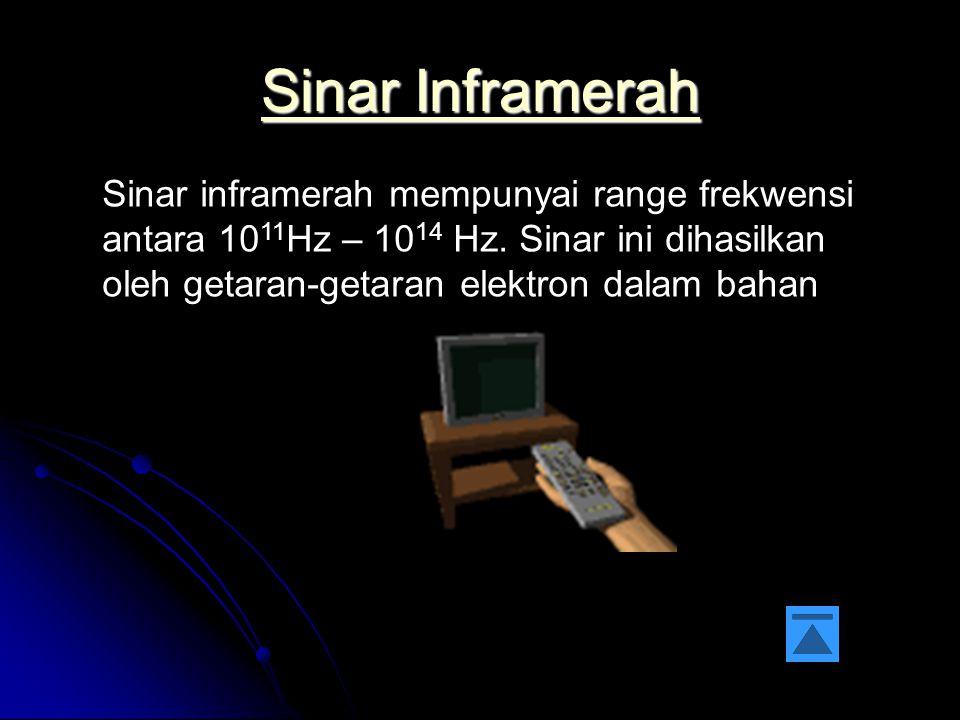 Sinar Inframerah Sinar inframerah mempunyai range frekwensi antara 1011Hz – 1014 Hz.