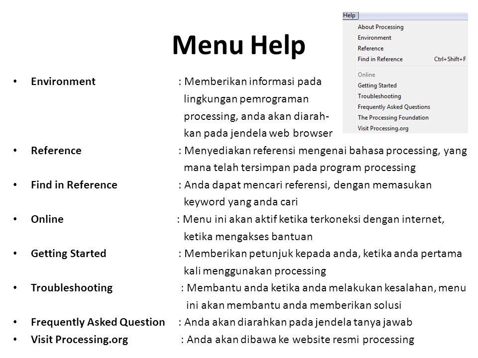 Menu Help Environment : Memberikan informasi pada
