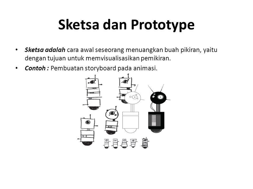 Sketsa dan Prototype Sketsa adalah cara awal seseorang menuangkan buah pikiran, yaitu dengan tujuan untuk memvisualisasikan pemikiran.