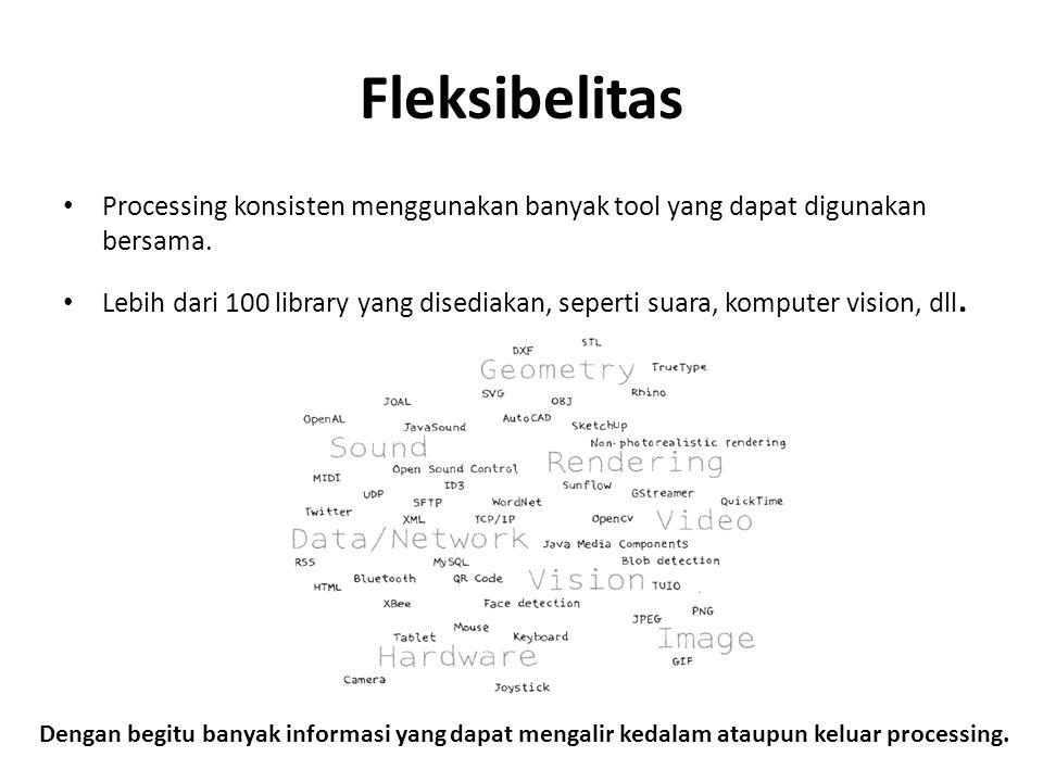Fleksibelitas Processing konsisten menggunakan banyak tool yang dapat digunakan bersama.