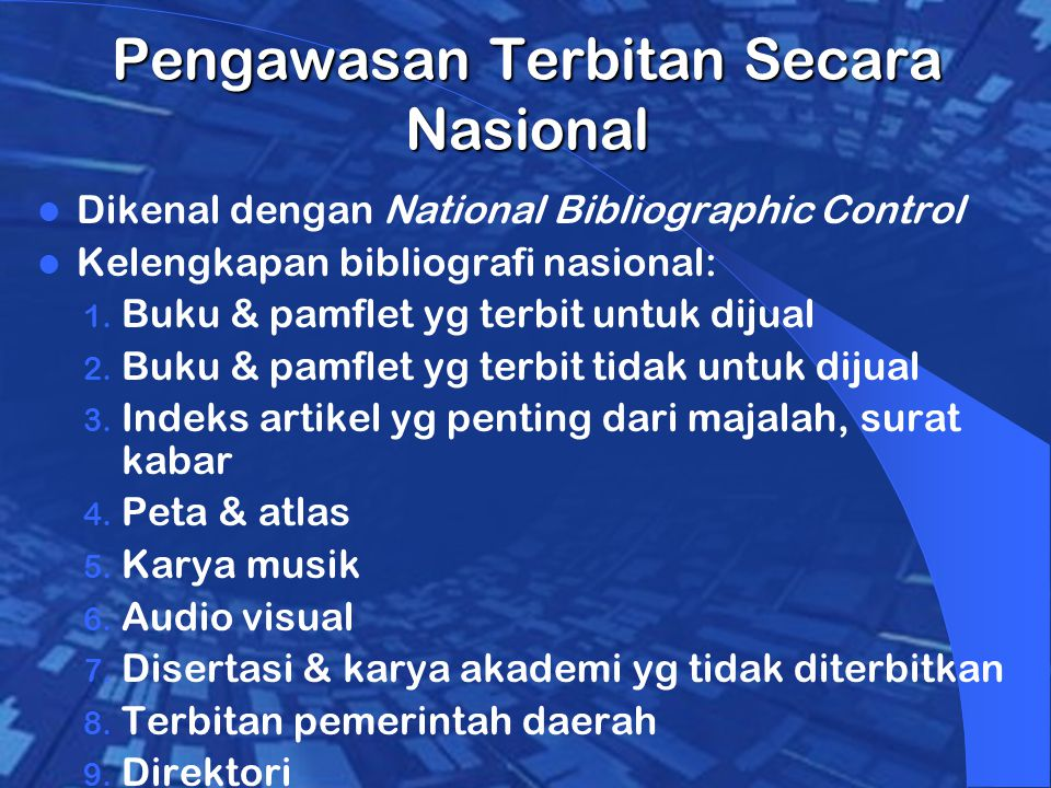 Pengawasan Terbitan Secara Nasional