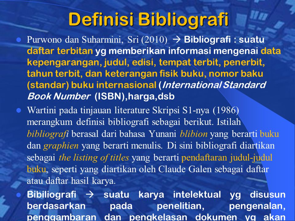 Definisi Bibliografi