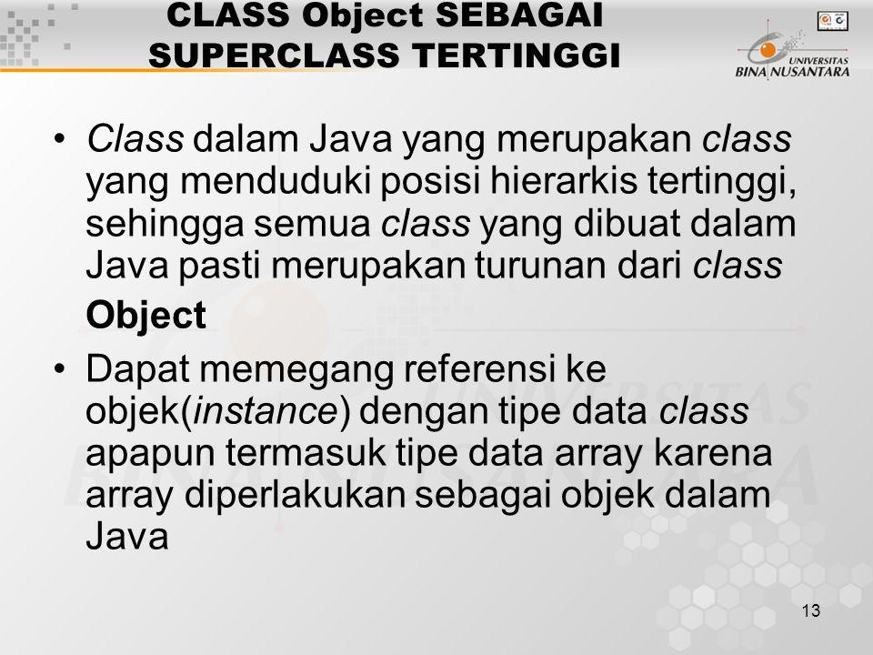 CLASS Object SEBAGAI SUPERCLASS TERTINGGI