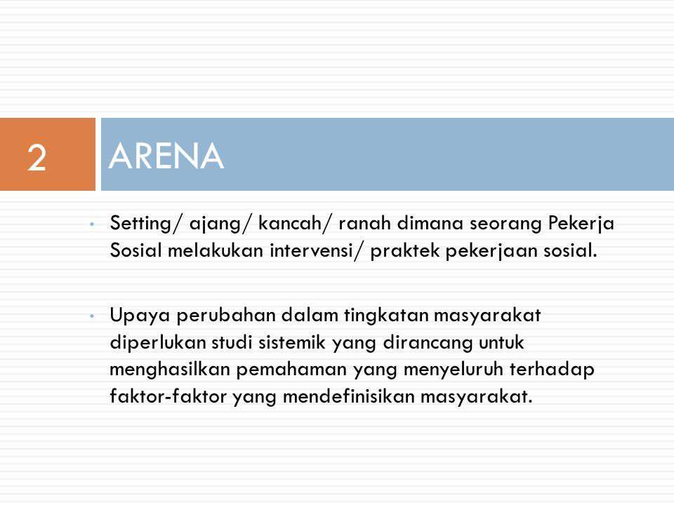 2 ARENA. Setting/ ajang/ kancah/ ranah dimana seorang Pekerja Sosial melakukan intervensi/ praktek pekerjaan sosial.