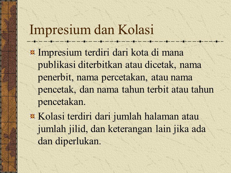 Impresium dan Kolasi