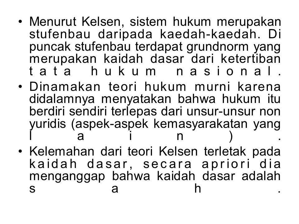 Menurut Kelsen, sistem hukum merupakan stufenbau daripada kaedah-kaedah. Di puncak stufenbau terdapat grundnorm yang merupakan kaidah dasar dari ketertiban tata hukum nasional.