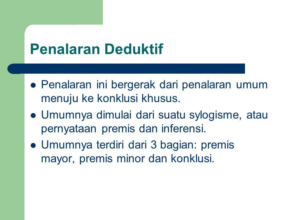 Penalaran Deduktif Penalaran ini bergerak dari penalaran umum menuju ke konklusi khusus.