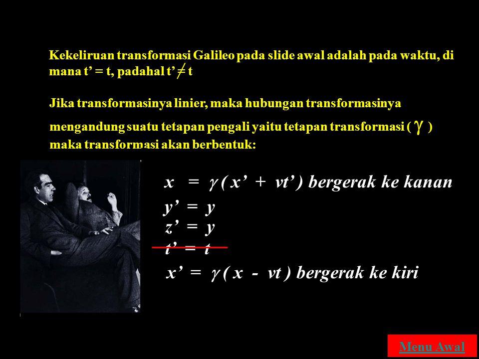 x =  ( x' + vt' ) bergerak ke kanan y' = y z' = y t' = t