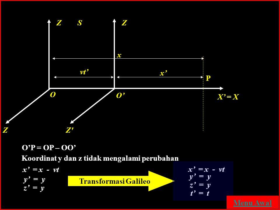 Transformasi Galileo Z S Z x vt' x' P O O' X' = X Z Z O'P = OP – OO'